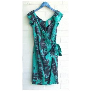 Yoana Baraschi Green Black Silk Faux Wrap Dress